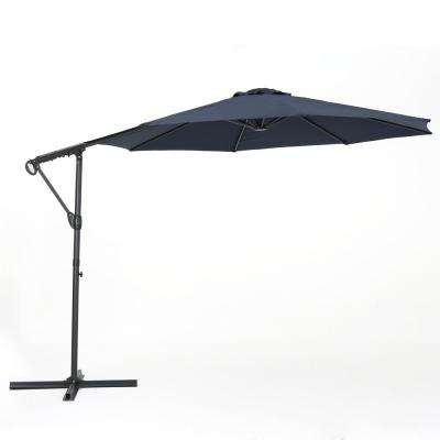 11.5 ft. Steel Cantilever Tilt Patio Umbrella in Blue