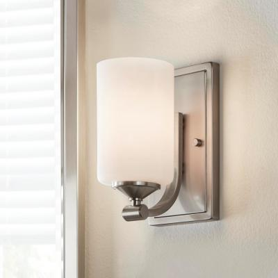 1-Light Brushed Nickel Wall Sconce with Frosted Opal Glass Shade