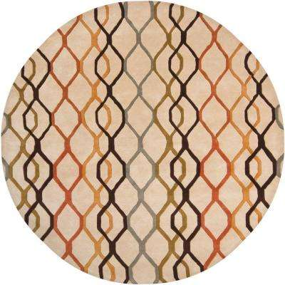 Rowe Beige/Orange/Rust/Black/Blue/Green 8 ft. x 8 ft. Indoor Round Area Rug