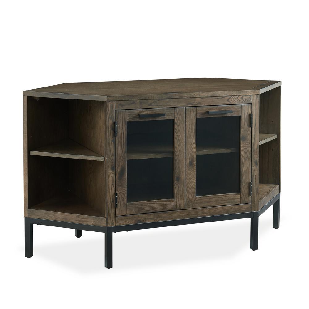 Tableau 46 in. Vintage Oak Corner TV Stand on Black Metal Base For 50 in. TV's