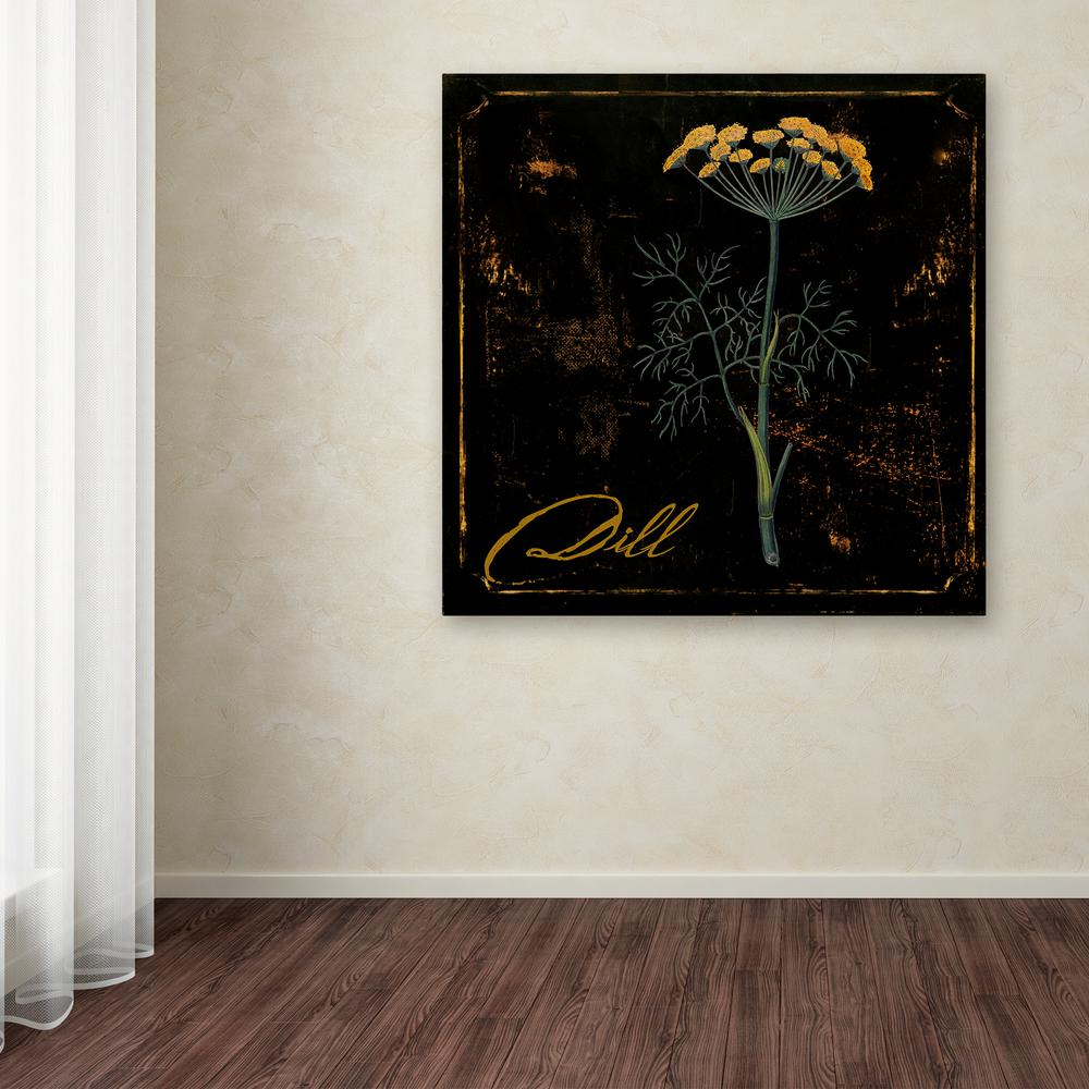 Trademark Fine Art 35 In X 35 In Black Gold Herbs I By Color