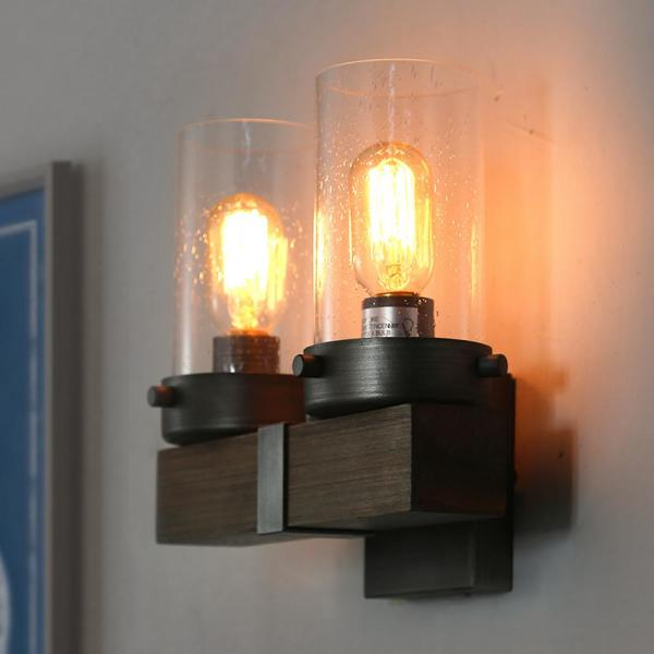 Viney 2-Light Aged Silver Modern Farmhouse Wood Vanity Light with Seeded Glass Shade Wall Sconce