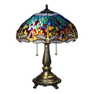 Serena D'italia Tiffany Blue Dragonfly 23 inch Bronze Table Lamp by Serena D'italia