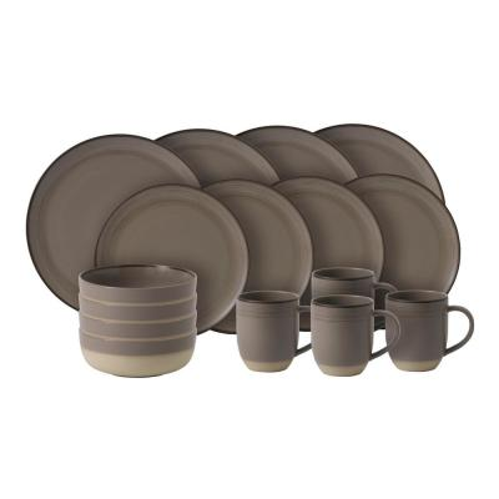 Brushed Glaze 16-Piece Dinnerware Set Taupe Stoneware Dinnerware Set (Service for 4)