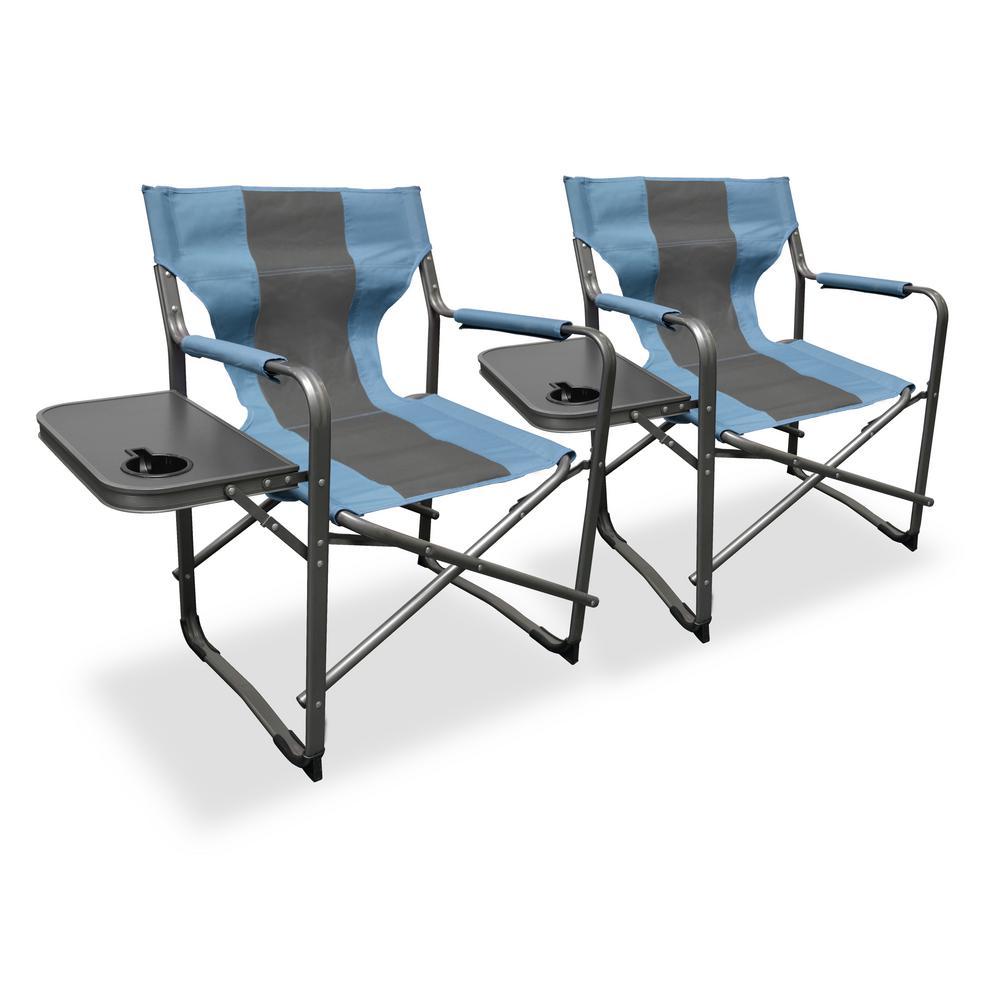 Elite Directoru0027s Teal/Gray Steel Folding Lawn Chair (2 Pack)