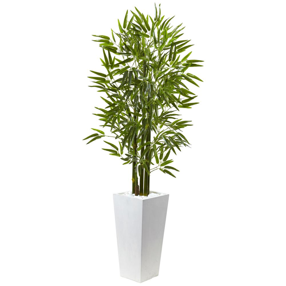 Nearly Natural Bamboo Tree With White Planter Uv Resistant Indoor Outdoor