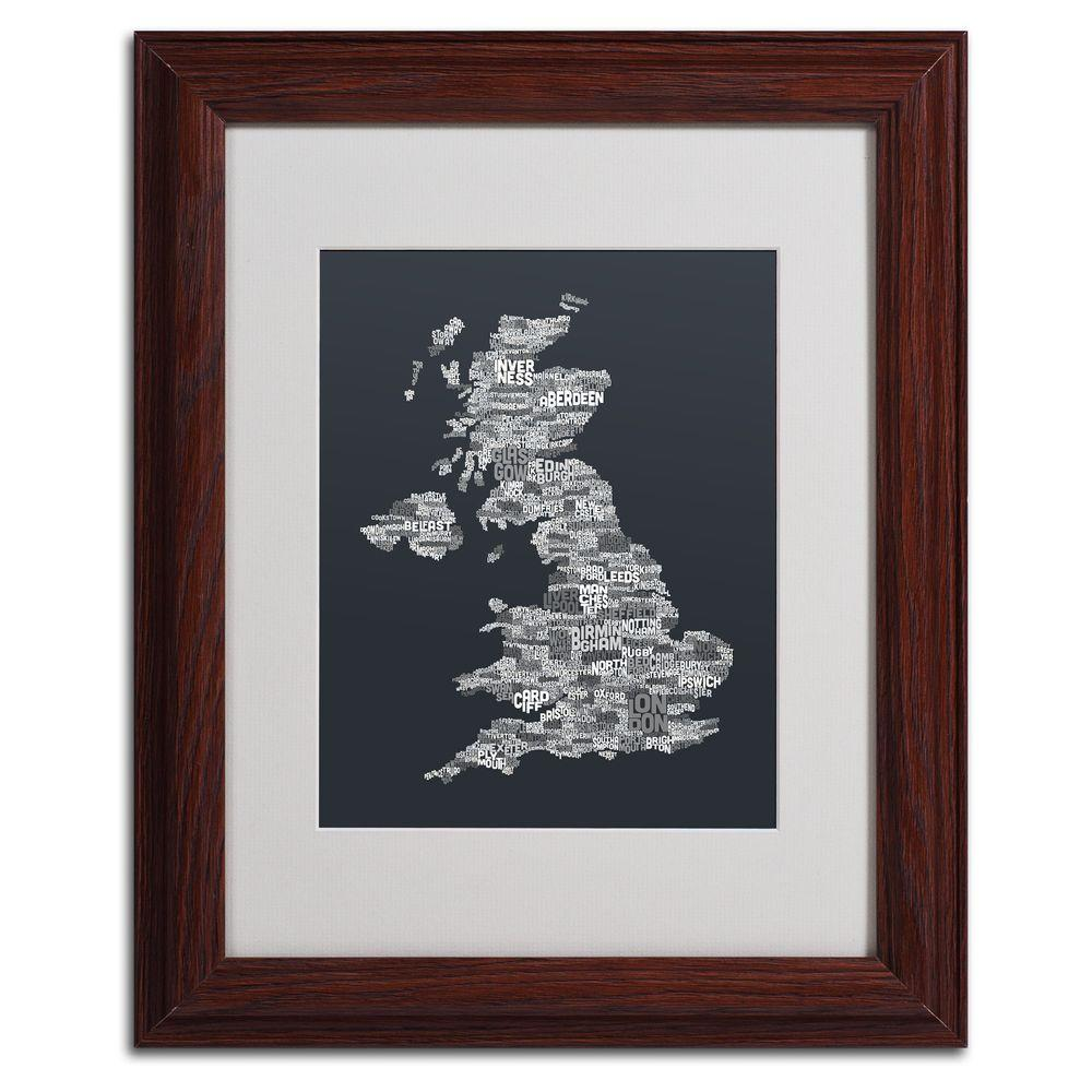 11 in. x 14 in. UK Cities Text Map 4 Matted