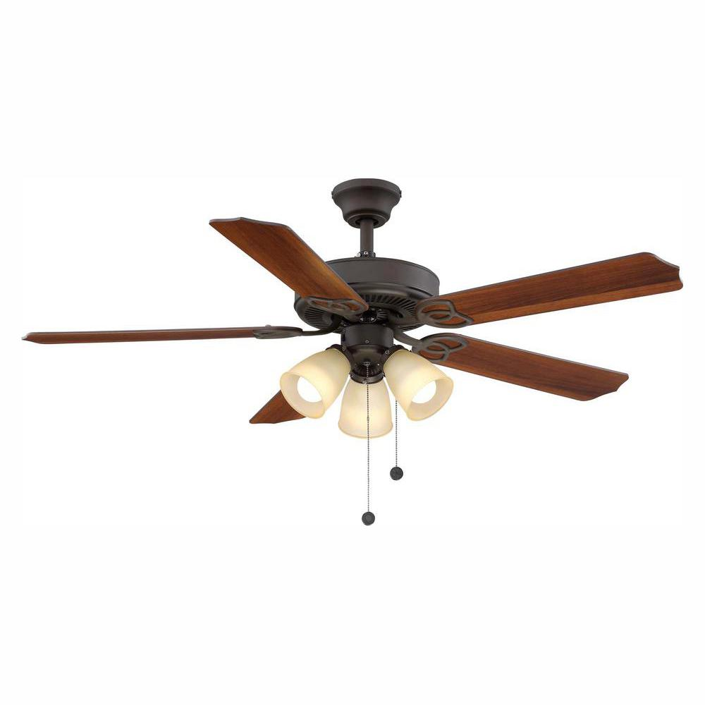 Brookhurst 52 in. LED Indoor Oil Rubbed Bronze Ceiling Fan with ...