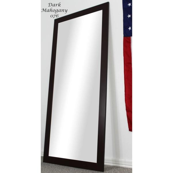 Large Dark Mahogany Composite Modern Mirror (59.5 in. H X 20.5 in. W)