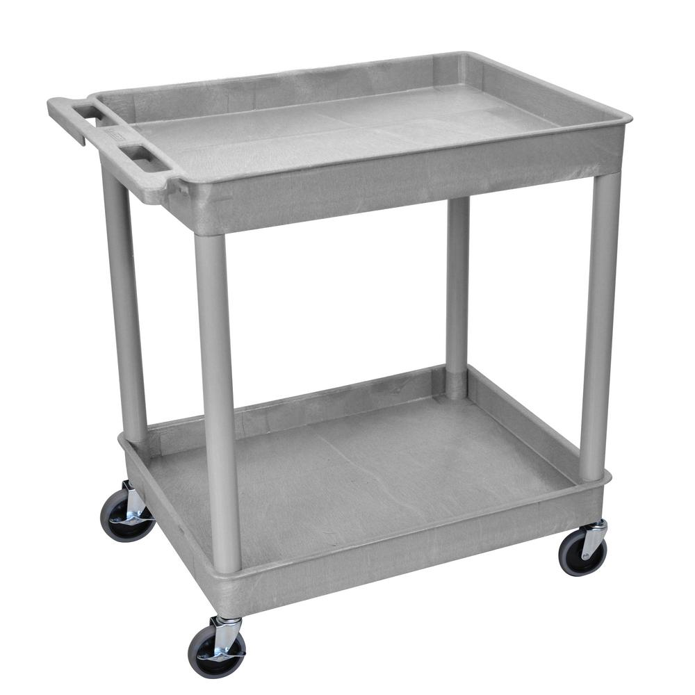 TC 32 in. Large Tub 2-Shelves Utility Cart - Gray