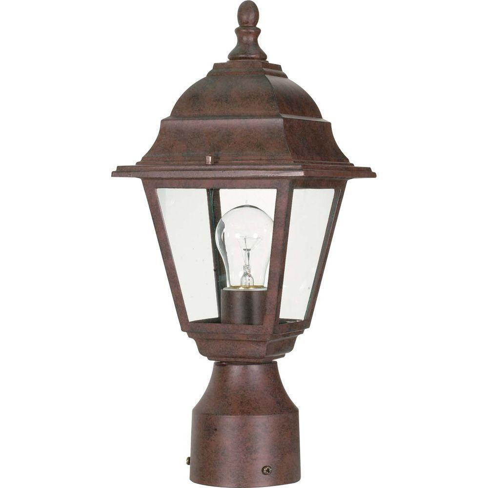 1-Light Old Bronze Outdoor Incandescent Post Light