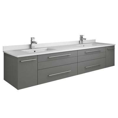 Lucera 72 in. W Wall Hung Bath Vanity in Gray with Quartz Stone Double Sink Vanity Top in White with White Basins