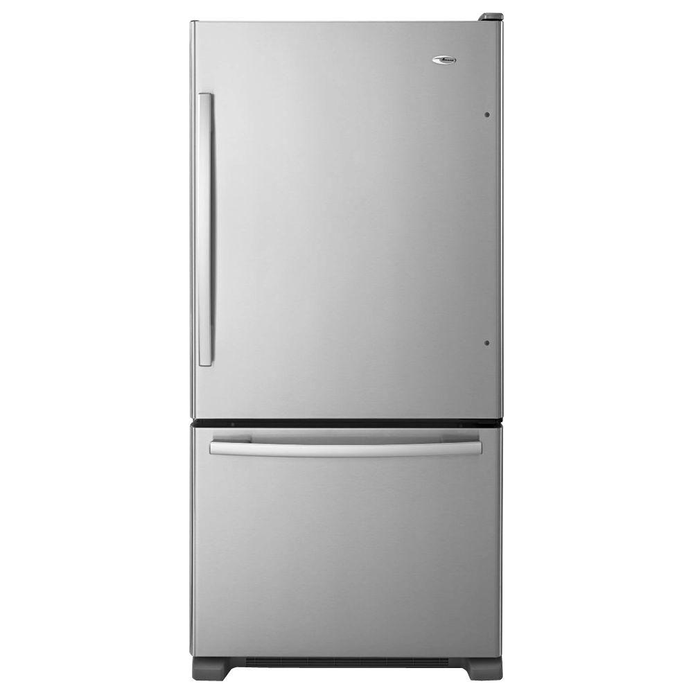 Amana 18 Cu Ft Bottom Freezer Refrigerator In Stainless Steel Abb1924brm The Home Depot