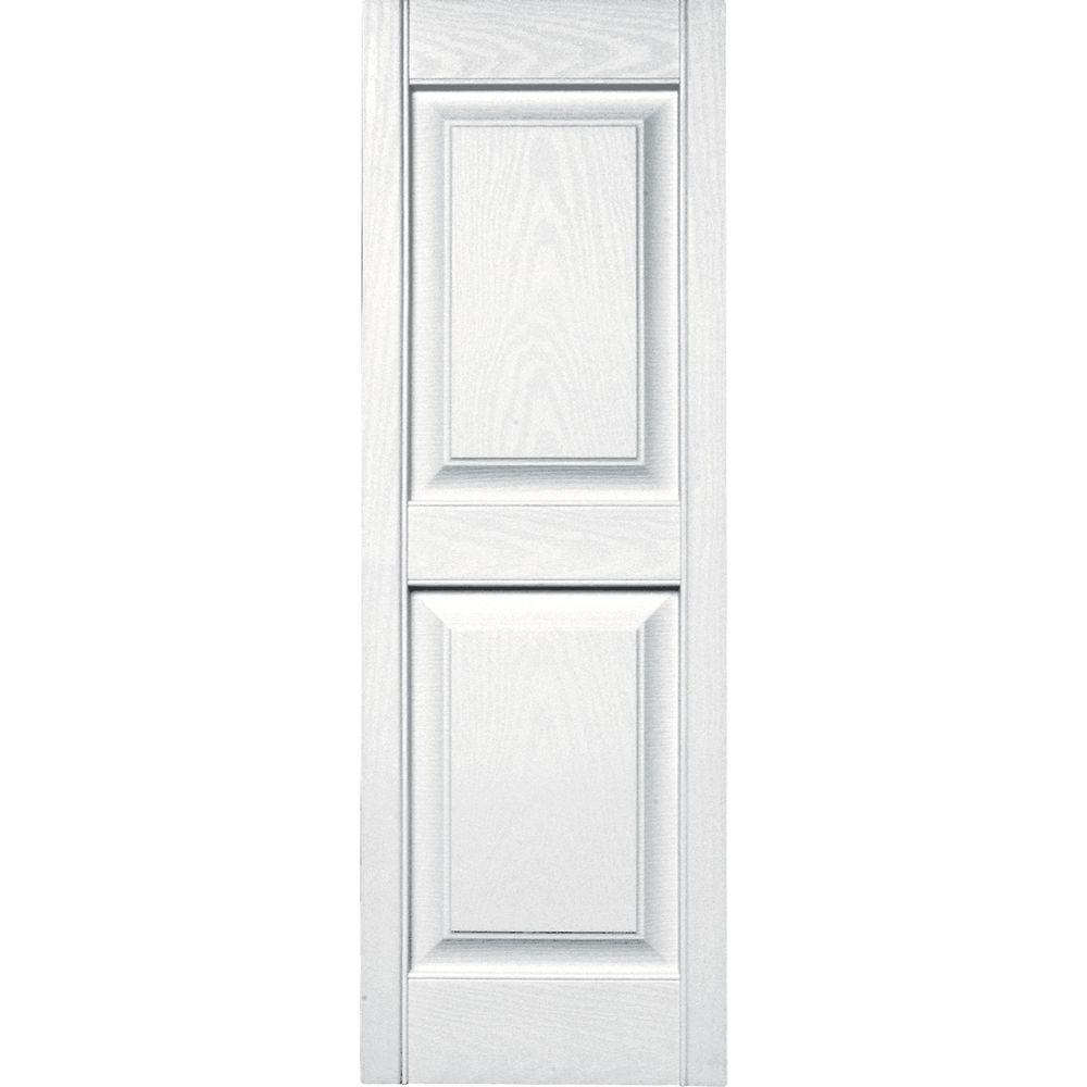 15 in. x 43 in. Raised Panel Vinyl Exterior Shutters Pair