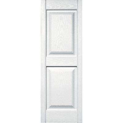 15 in. x 43 in. Raised Panel Vinyl Exterior Shutters Pair in #001 White