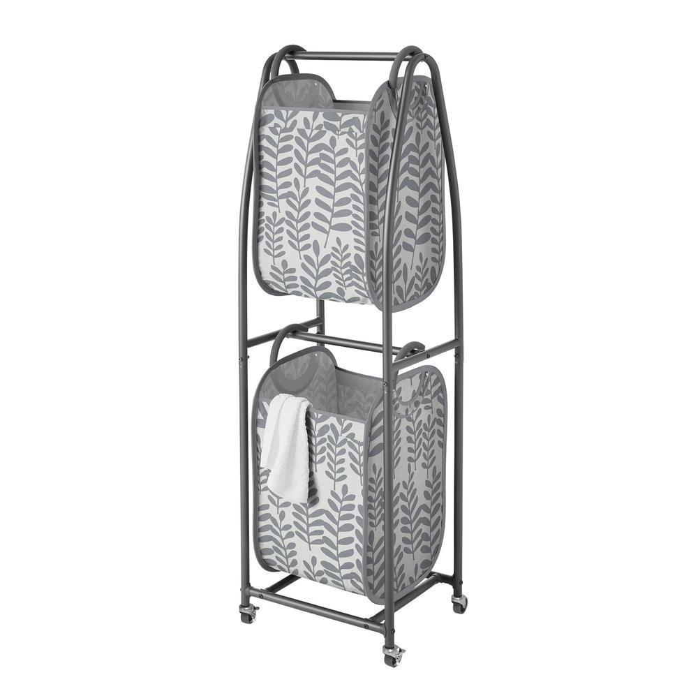 Charcoal Grey 2-Tier Vertical Rolling Laundry Sorter