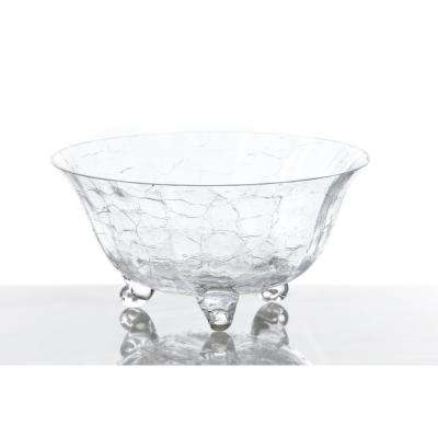 Crackle Glass Footed Salad Bowl