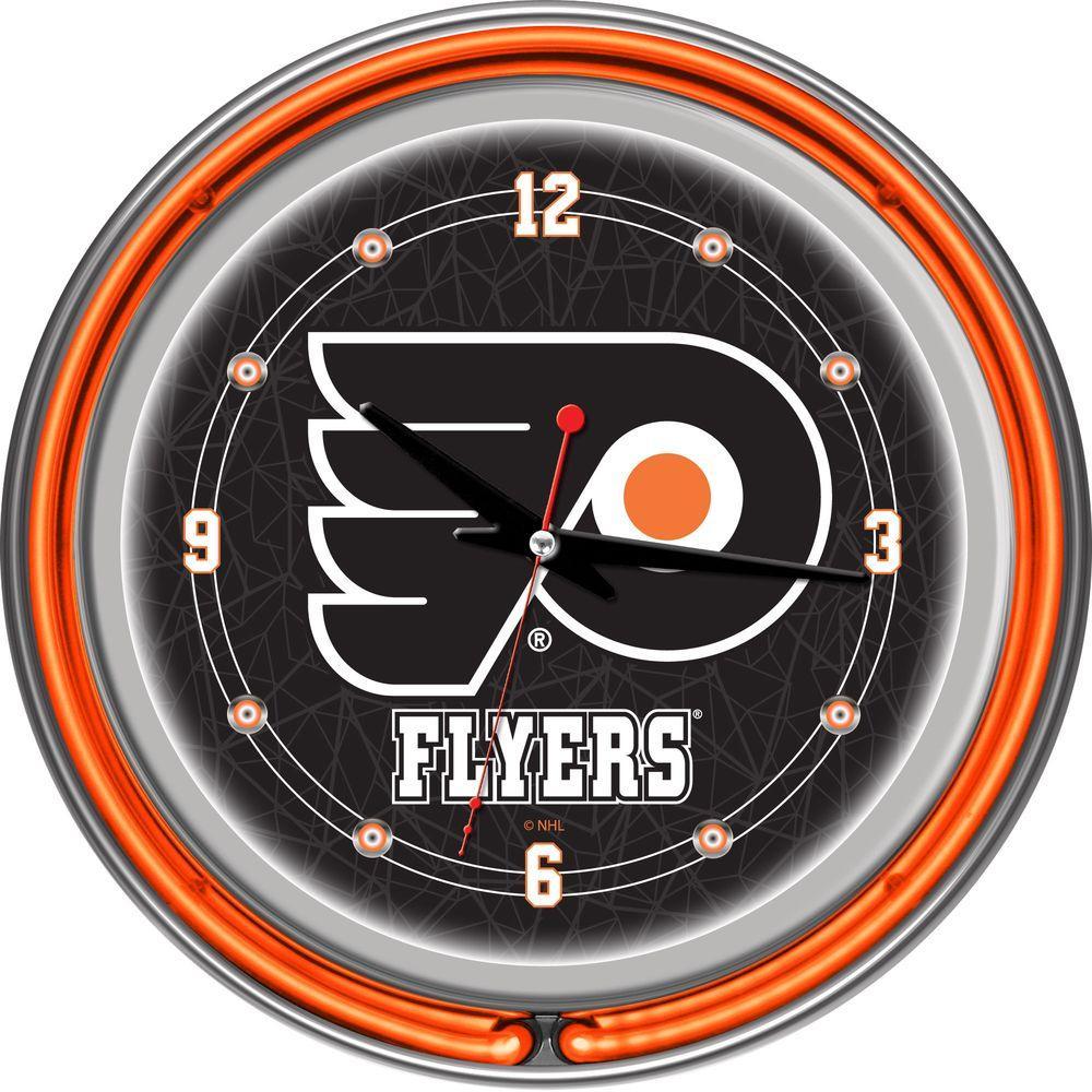Trademark 14 in. Philadelphia Flyers NHL Neon Wall Clock