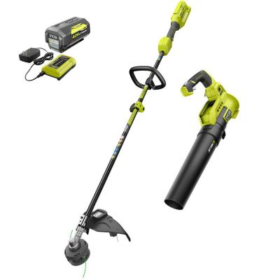 40-Volt Cordless Lithium-Ion Attachment Capable String Trimmer and Blower Combo Kit (2-Tools) 4.0 Ah Battery and Charger