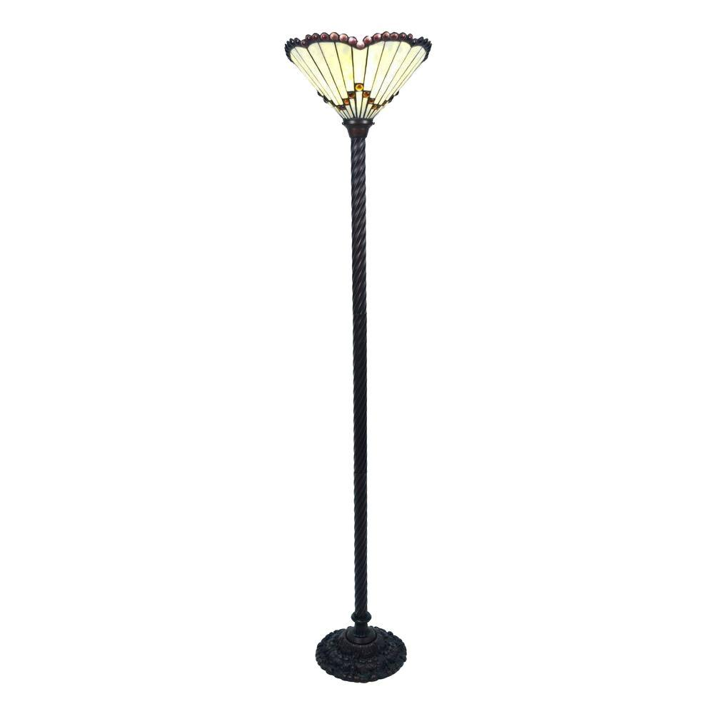 Warehouse of tiffany 72 in antique bronze jewel stained glass floor antique bronze jewel stained glass floor lamp with foot switch aloadofball Choice Image