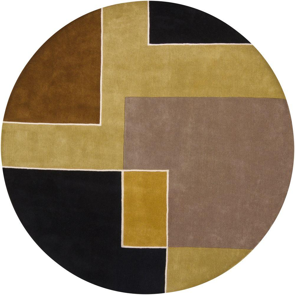 Bense Green/Black/Brown/Gray 8 ft. x 8 ft. Indoor Round Area Rug