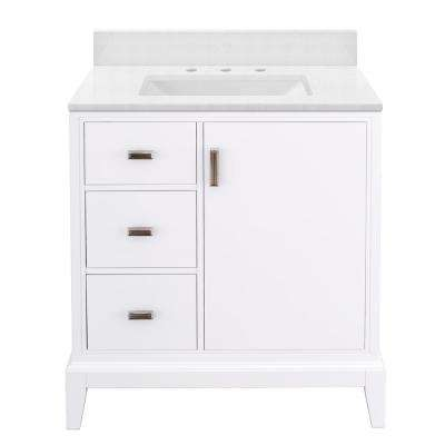 Shaelyn 31 in. W x 22 in. D Bath Vanity in White LH with Engineered Marble Vanity Top in Snowstorm with White Sink