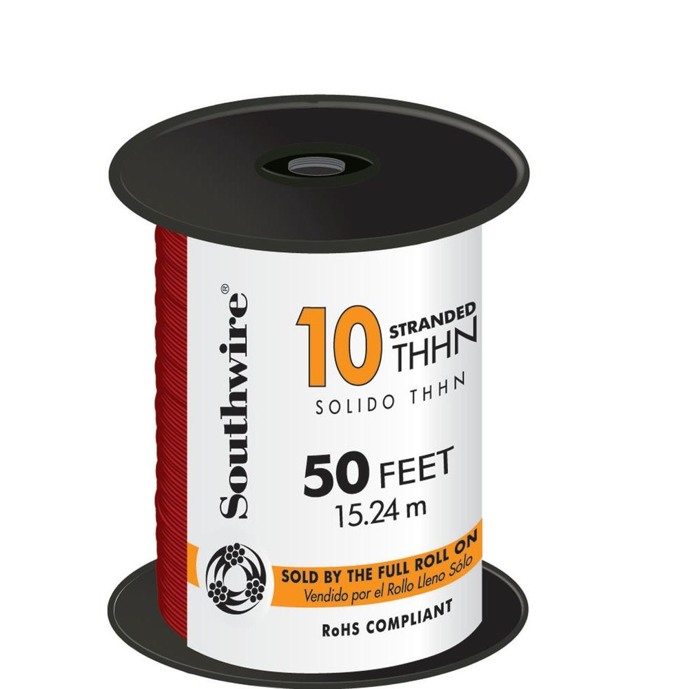 Southwire 50 ft. 10 Red Stranded CU THHN Wire