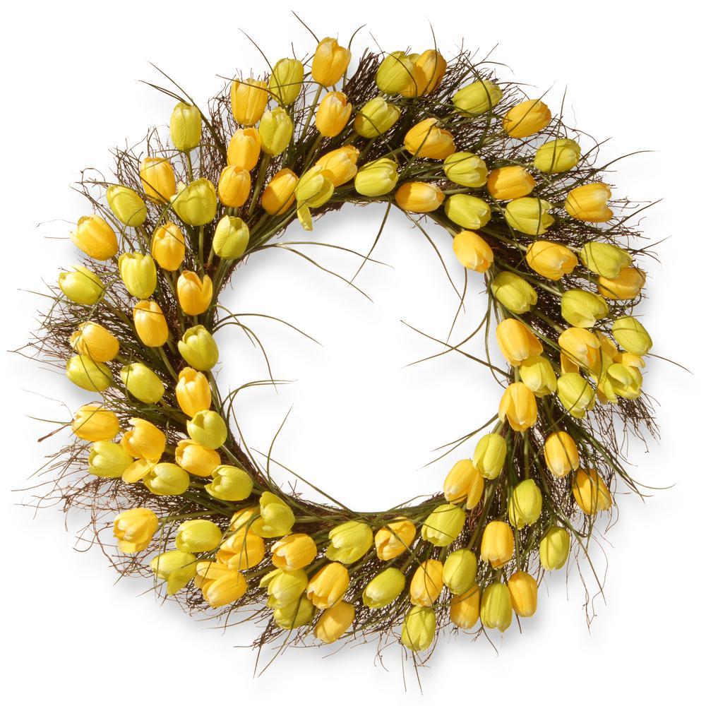 32 in. Yellow Tulip Wreath