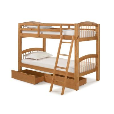 Spindle Cinnamon Twin Over Twin Wood Bunk Bed with Under Bed Storage Drawers