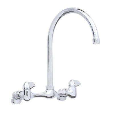 Builders 2-Handle Wall Mount High-Arc Standard Kitchen Faucet in Chrome