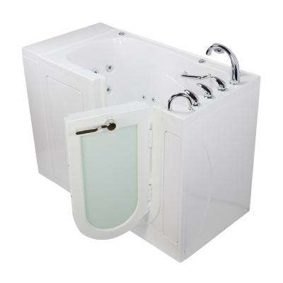 Monaco Acrylic 52 in. Walk-In Whirlpool and MicroBubble Bath in White Fast Fill Roman Faucet Set Right 2 in. Dual Drain