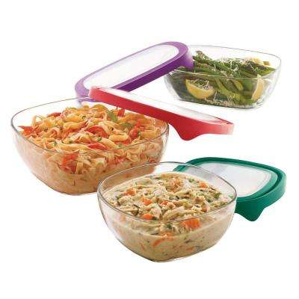 Serve It 3-Piece Large Multi Size Glass Serveware Set with Lids
