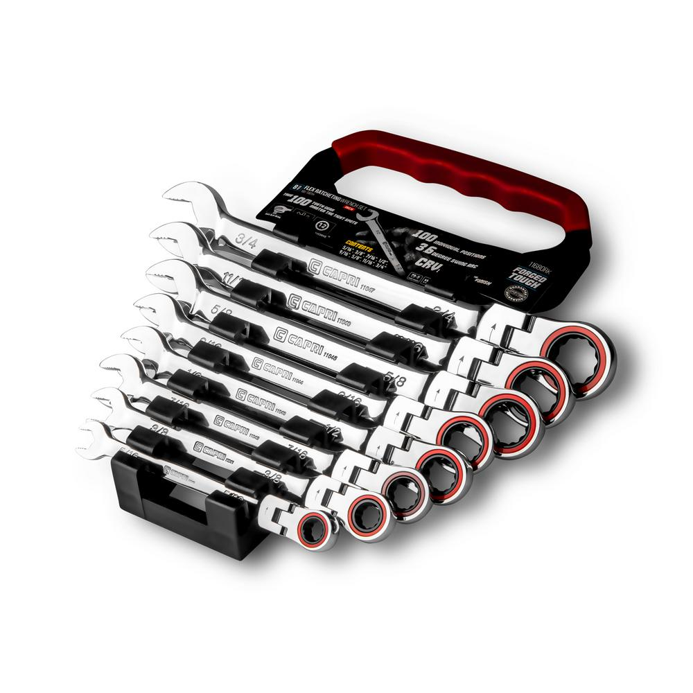 100-Tooth SAE Flex-Head Ratcheting Wrench Set (8-Piece)
