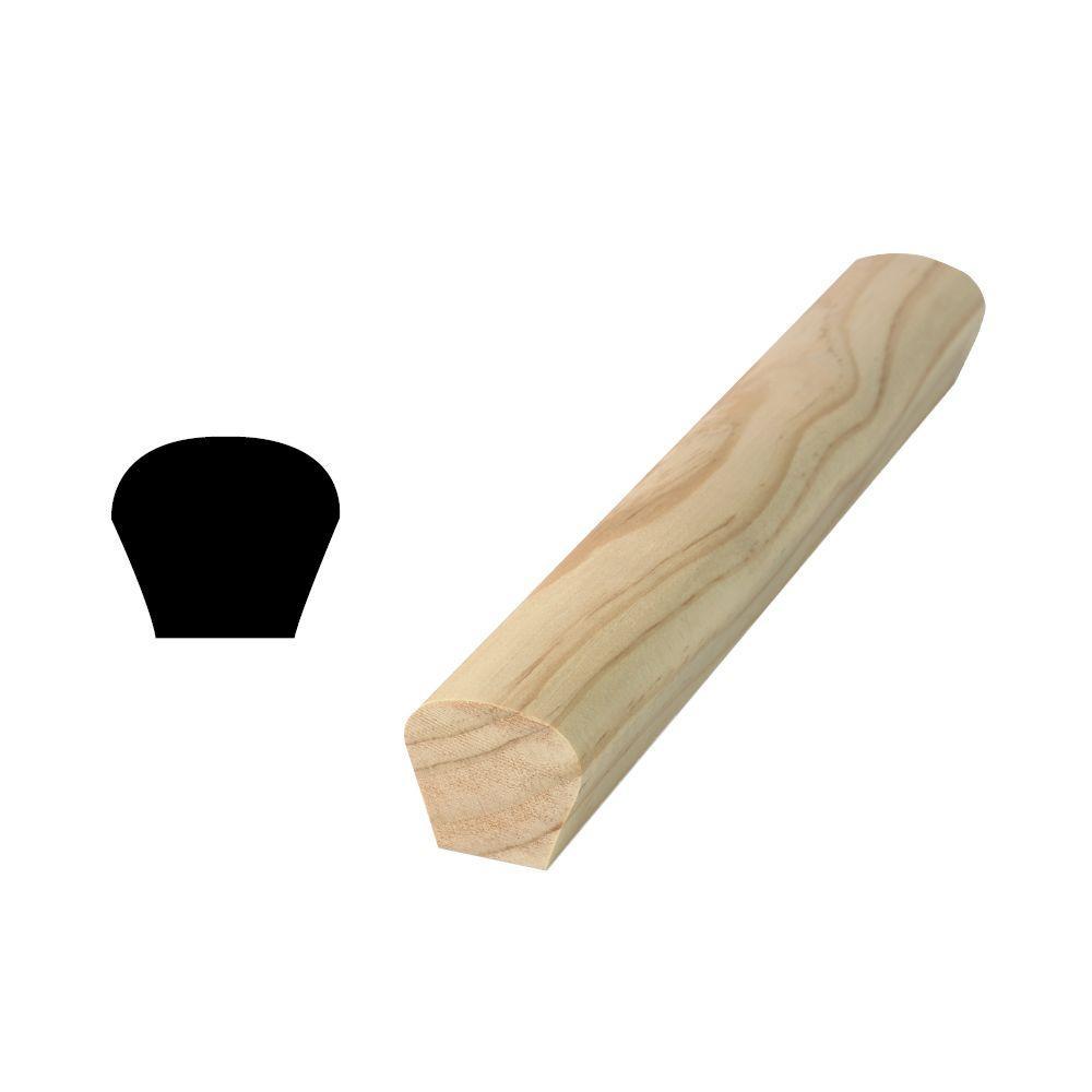 Woodgrain Millwork WM 230 1-1/2 in. x 1-11/16 in. x 96 in. Solid Pine Handrail Moulding