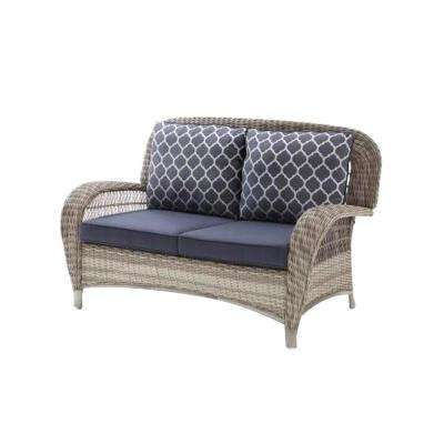 Beacon Park Gray Wicker Outdoor Loveseat with Midnight Cushions