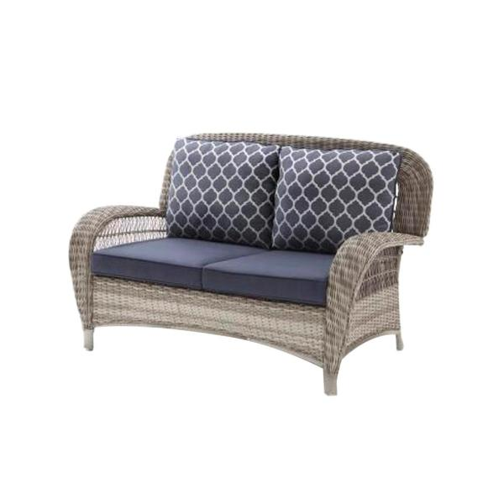 Beacon Park Gray Wicker Outdoor Patio Loveseat with Standard Midnight Trellis Navy Blue Cushions
