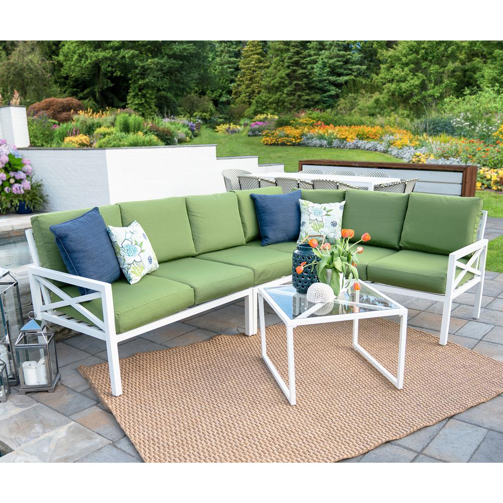 Leisure Made Blakely White 5 Piece Aluminum Outdoor Sectional Set With Green  Cushions