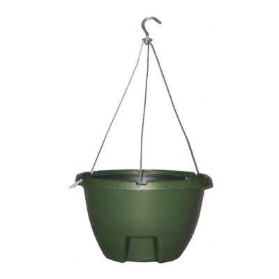 The Weekender 16 in. Forrest Green Polypropylene Hanging Self-Watering Planter
