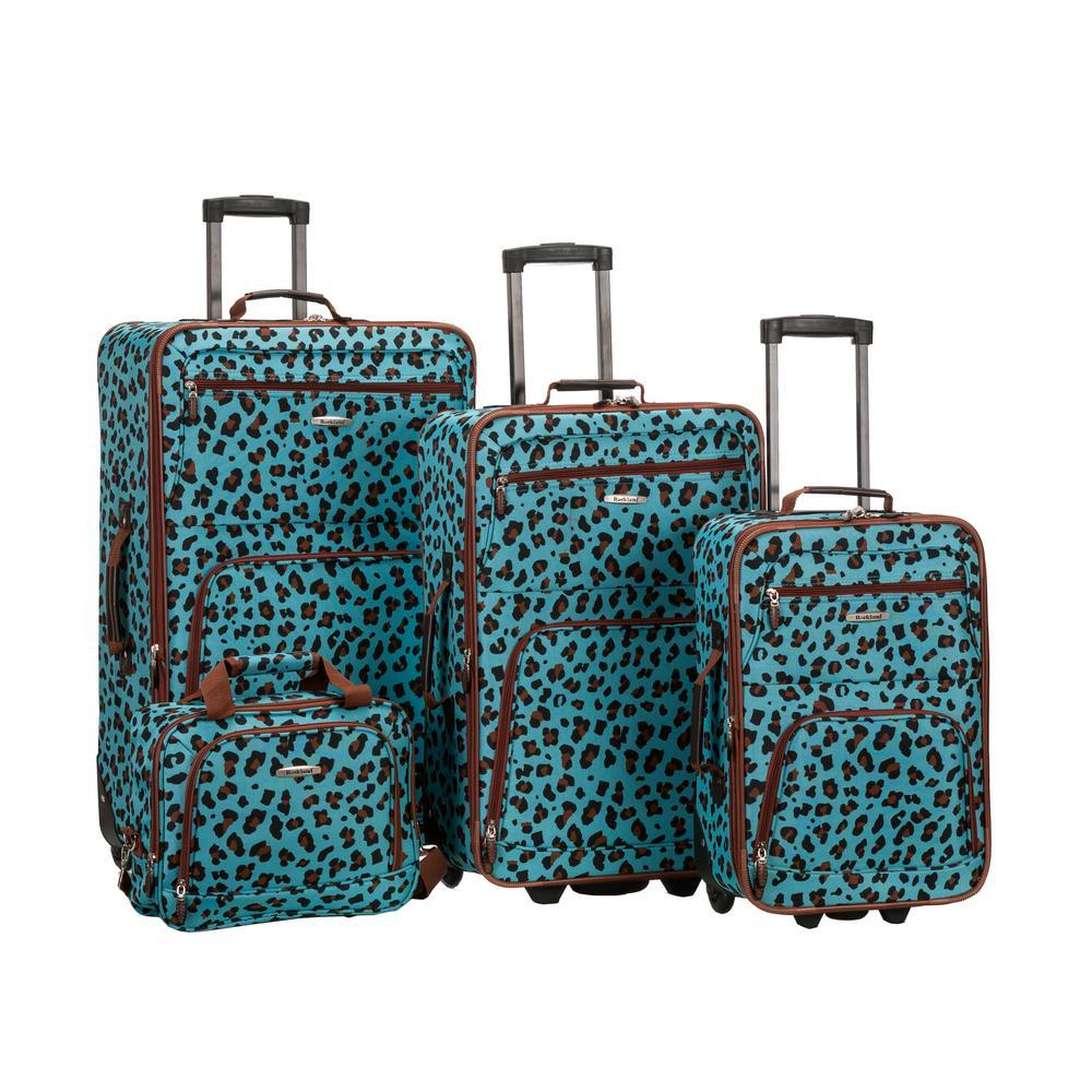Rockland Expandable Jungle 4-Piece Softside Luggage Set, Blue Leopard