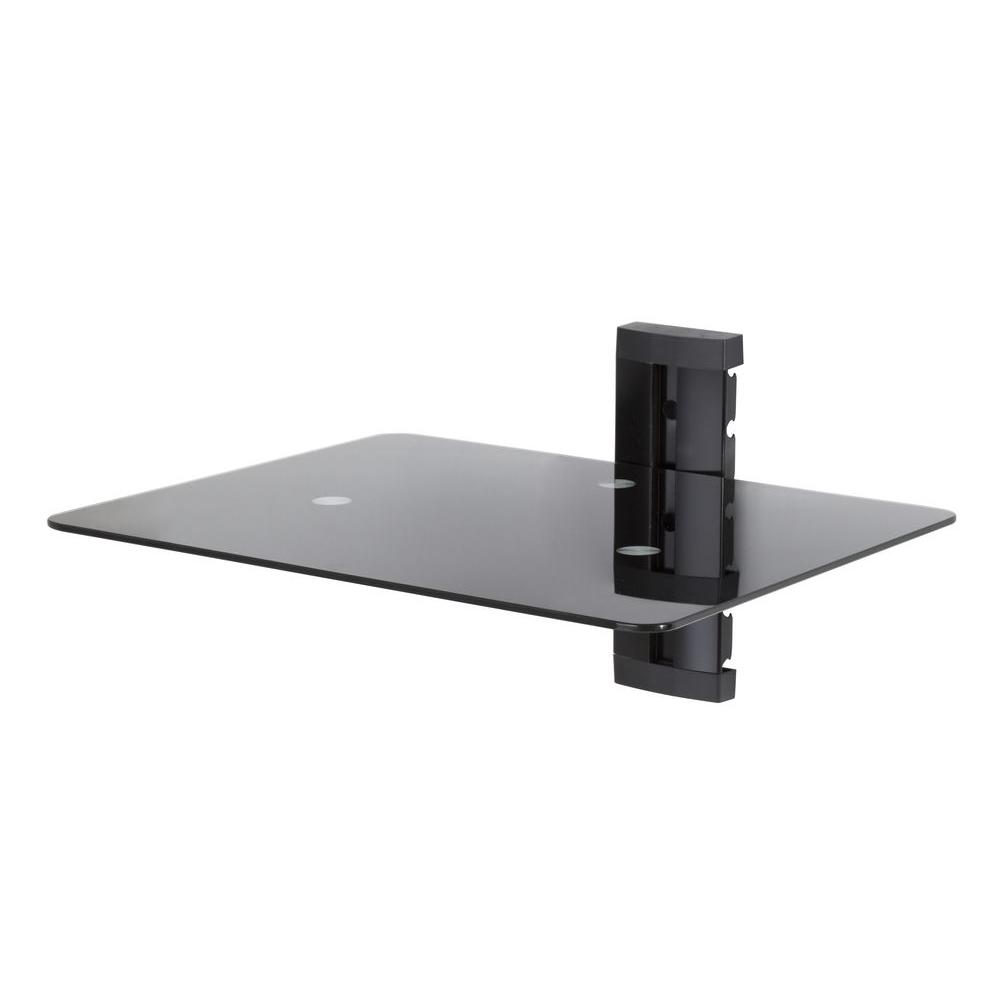 Wall Mounted AV Component Shelving Bracket, 1 Shelf, Black