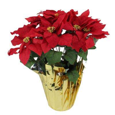 22 in. Red Artificial Christmas Poinsettia with Gold Wrapped Pot