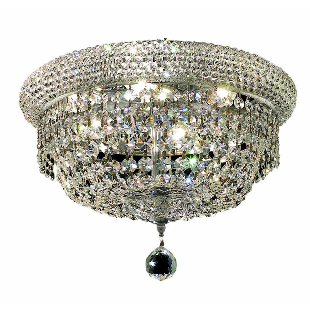 6-Light Chrome Flushmount with Clear Crystal