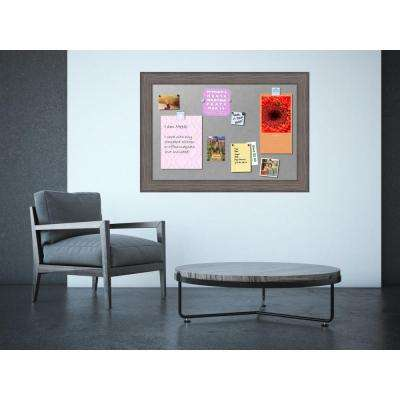 Country Barnwood Wood 42 in. W x 30 in. H Framed Magnetic Board