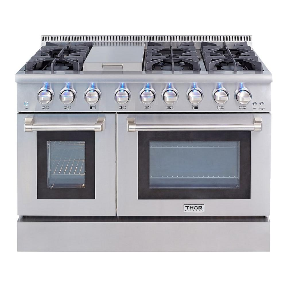 Thor Kitchen Pre Converted Propane 48 In 6 7 Cu Ft Double Oven Gas Range In Stainless Steel Hrg4808ulp The Home Depot