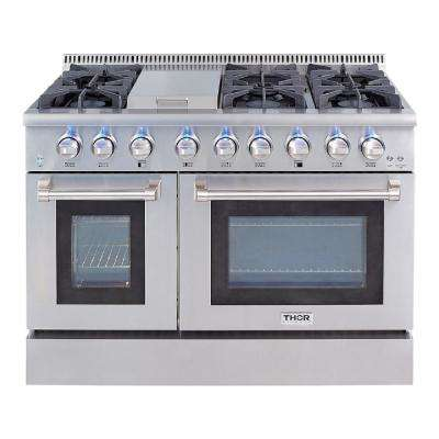 Pre-Converted Propane 48 in. 6.7 cu. ft. Double Oven Gas Range in Stainless Steel