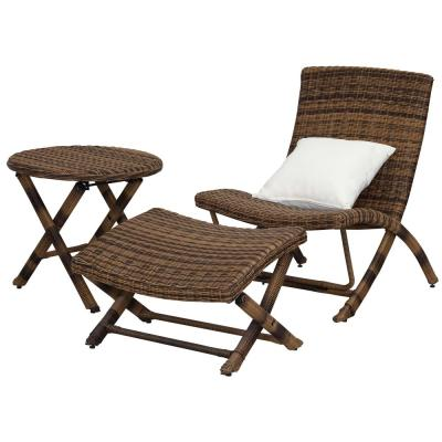 Perkins Brown 3-Piece Wicker Outdoor Lounge Chair with Pillow