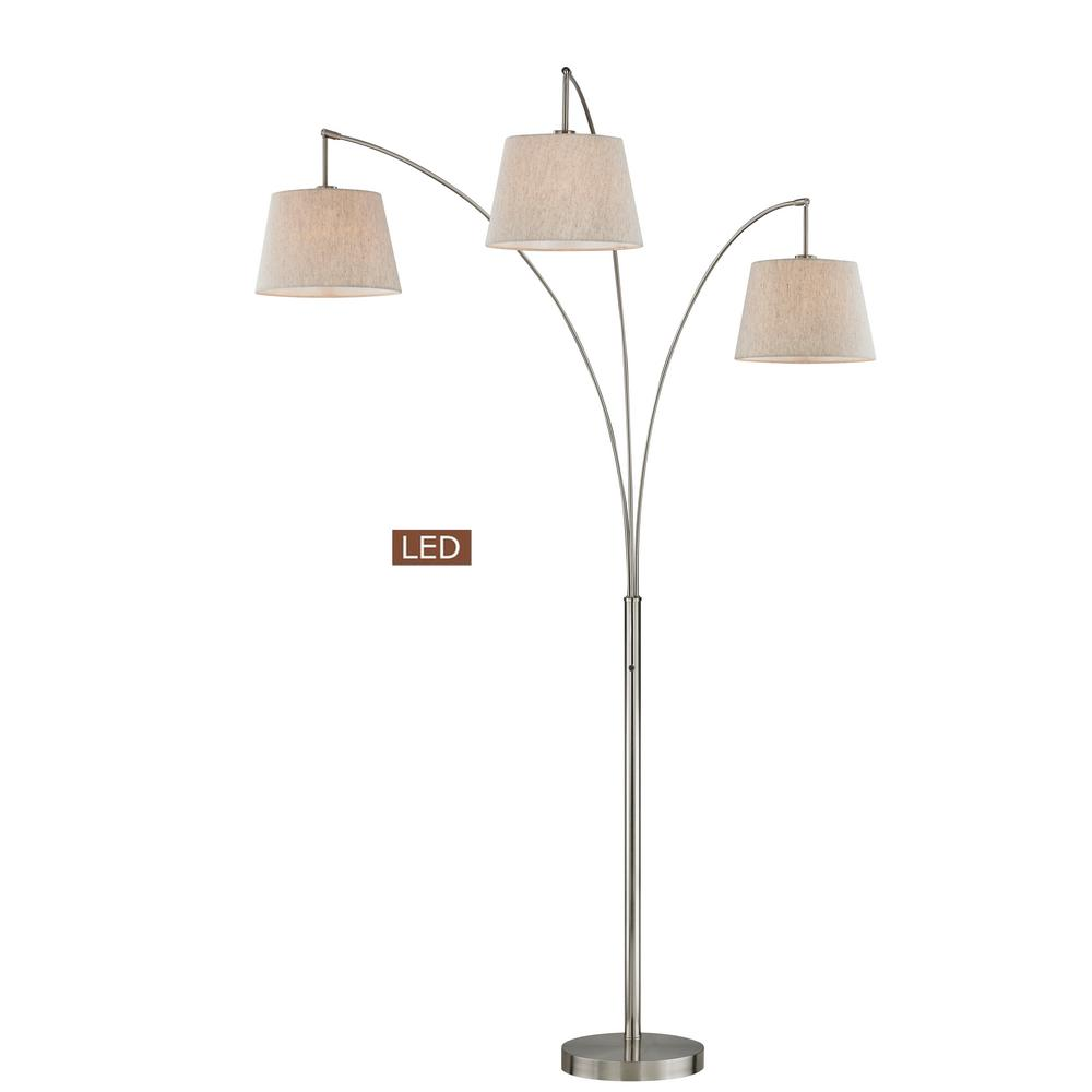 Luce 84 in. Brushed Steel LED Arched Floor Lamp with Dimmer
