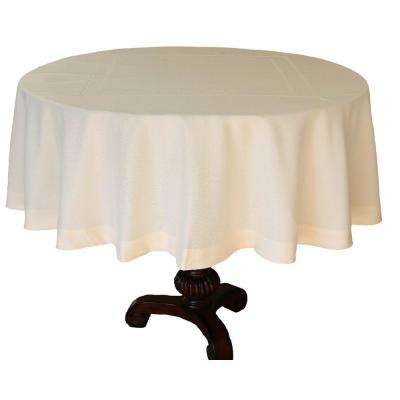 70 in. Handmade Double Hemstitch Easy Care Round Tablecloth in Ivory