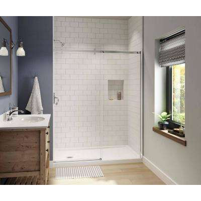 Luminescence 59 in. x 72 in. Frameless Sliding Shower Door in Chrome