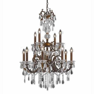 12-Light Bronze Chandelier with Crystal Tear Drop Glass Shade